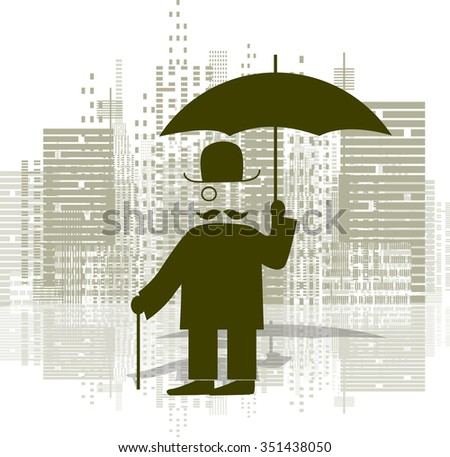 Illustration of a man with an umbrella in a monocle - stock vector