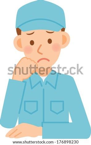 Illustration of a man working in factory - stock vector
