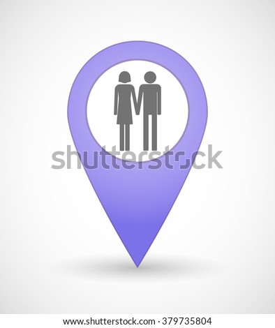 Illustration of a map mark icon with a heterosexual couple pictogram