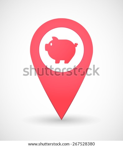 Illustration of a map mark icon with a pig - stock vector