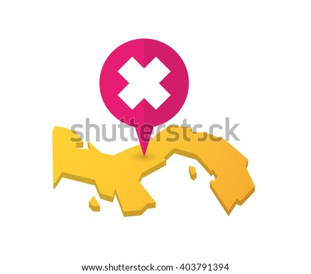 Illustration of a map of Panama with a map marker and an irritating substance sign - stock vector