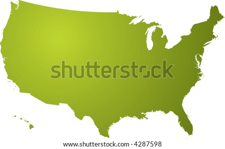 Illustration of a map of the us in different shades of green isolated on a white background - stock vector