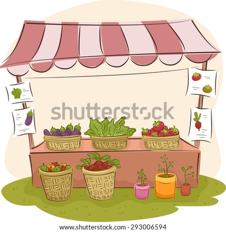 Illustration of a Market Stall Selling Fresh Fruits and Vegetables - stock vector