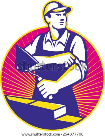 Illustration of a mason construction working holding trowel rolling up sleeves laying bricks set inside circle done in retro style. - stock vector