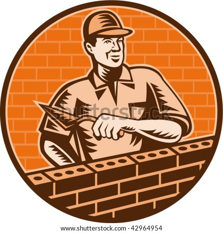 illustration of a Mason worker or bricklayer holding a trowel working on brick wall done in woodcut style. - stock vector