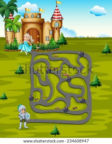 Illustration of a maze game with pricess and castle