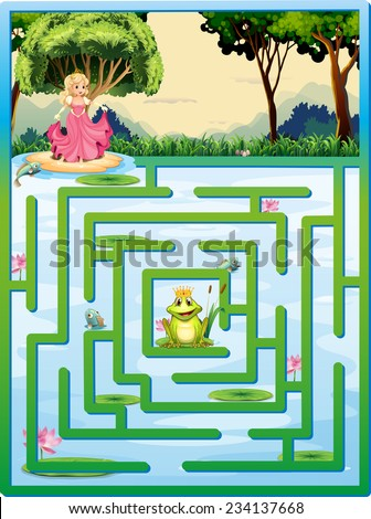 Illustration of a maze with fairy tale background - stock vector