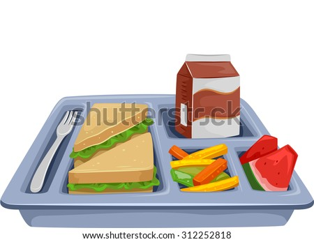 Illustration of a Meal Tray Filled with Healthy Food for Lunch - stock vector
