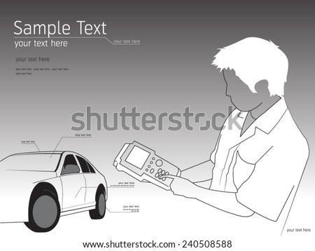 Illustration of a mechanic technician car automobile repair  - stock vector