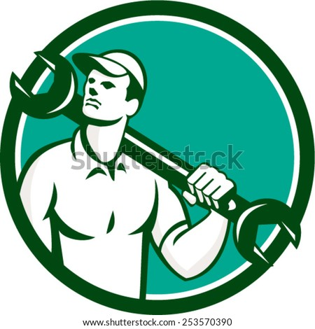 Illustration of a mechanic wearing hat holding spanner wrench on shoulder looking up to the side set inside circle on isolated background done in retro style. - stock vector
