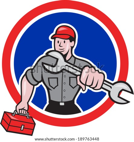 Illustration of a mechanic with spanner wrench carrying toolbox facing front set inside circle round shape on isolated background done in cartoon style.