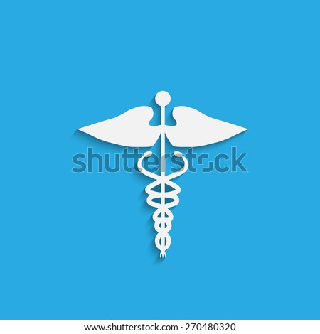 Illustration of a medical symbol isolated on a colorful blue background. - stock vector