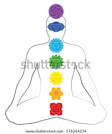 Illustration of a meditating man in yoga position with the seven main chakras. - stock vector
