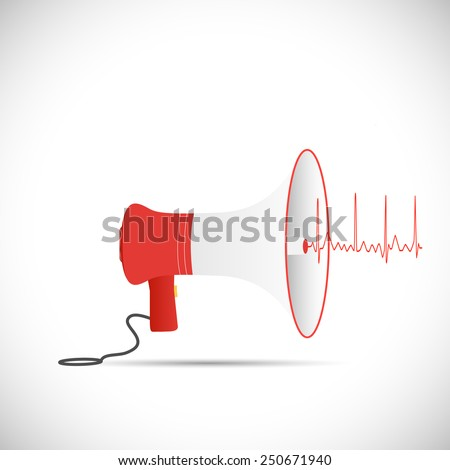 Illustration of a megaphone isolated on a white background. - stock vector
