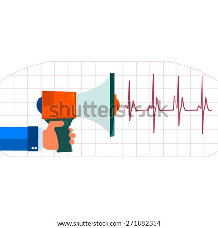 Illustration of a megaphone isolated on pulse cardiogram - stock vector