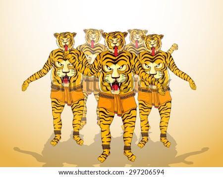 Illustration of a men in tiger dance (Puli Kali) get up on shiny  background for South Indian festival, Happy Onam celebration. - stock vector