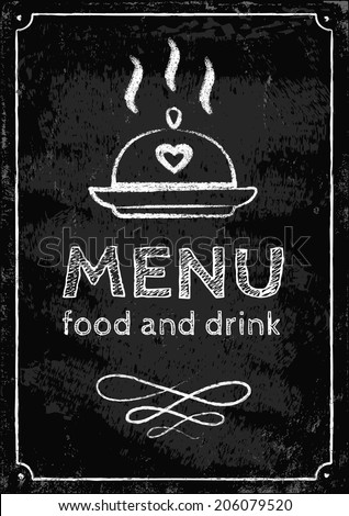 Illustration of a menu on chalkboard - stock vector