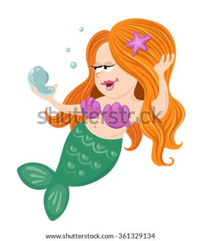 Illustration of a mermaid girl holding mirror - stock vector