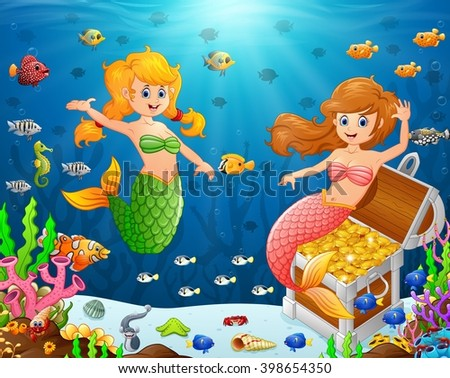 Illustration of a mermaid under the sea - stock vector