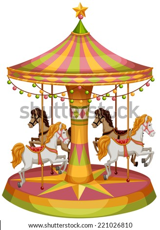 Illustration of a merry-go-round horse ride on a white background  - stock vector