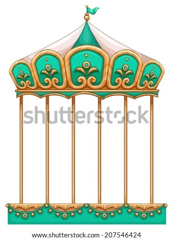 Illustration of a merry-go-round ride on a white background - stock vector