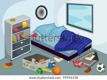 Illustration of a messy bedroom. Messy Bedroom Stock Images  Royalty Free Images   Vectors