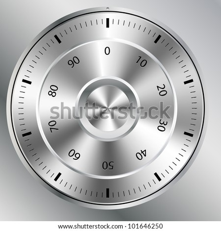 illustration of a metallic combination lock with round shape - stock vector