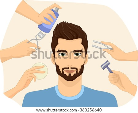 Illustration of a Metrosexual Man Being Groomed - stock vector