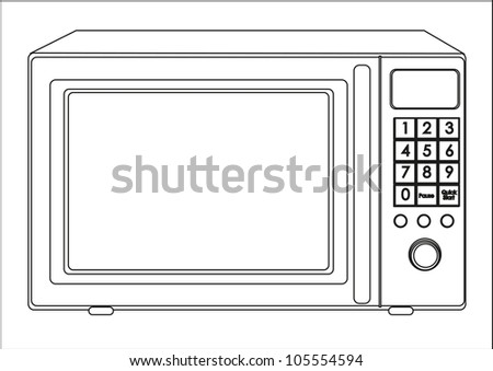 Illustration of a microwave, isolated on white background, vector illustration - stock vector
