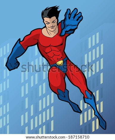 Illustration of a mighty flying superhero in a bright costume - stock vector