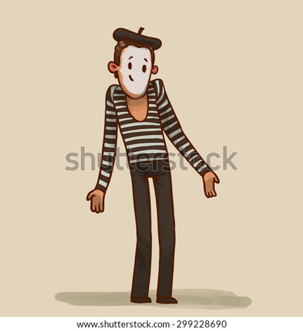 illustration of a mime, vector - stock vector