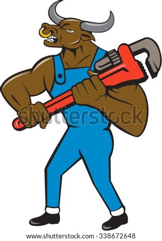 Illustration of a minotaur bull plumber in overalls holding adjustable wrench standing looking to the side set on isolated white background done in cartoon style.  - stock vector