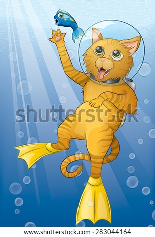 Illustration of a mischievous tabby cat wearing scuba gear clawing at a terrified fish.  Rays of light beam down through the waves while bubbles float up around the characters from below. - stock vector