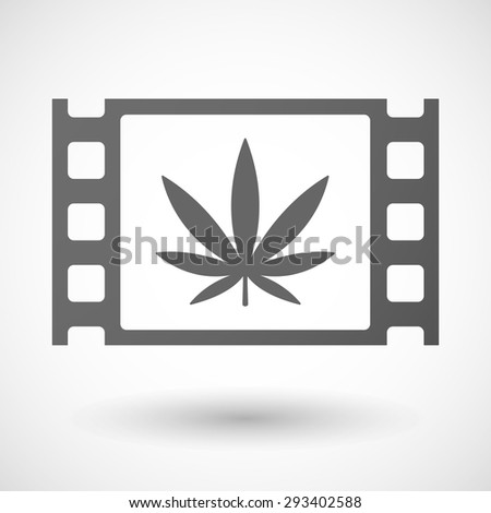Illustration of a 35mm film frame with a marijuana leaf - stock vector