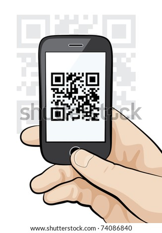 Illustration of a mobile phone in the male hand scanning qr code. - stock vector