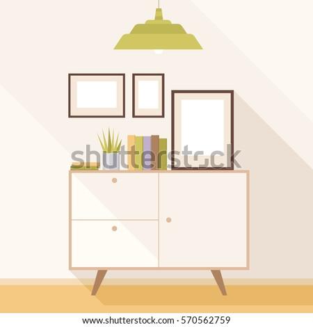Illustration Modern Living Room Cabinet Paintings Stock