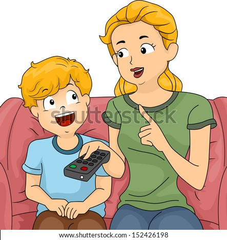 Illustration of a Mom Giving Her Son a Few Reminders Before Letting Him Watch TV - stock vector