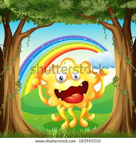 Illustration of a monster at the woods with a rainbow in the sky - stock vector