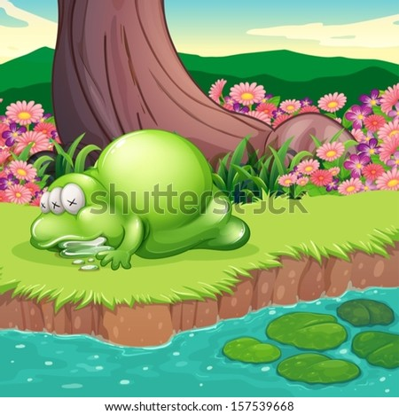 Illustration of a monster lying at the riverbank - stock vector