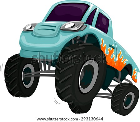 Illustration of a Monster Truck Revving its Engine - stock vector