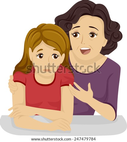 Illustration of a Mother Giving Her Teenage Daughter Some Advice - stock vector
