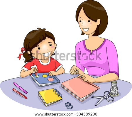 Illustration of a Mother Teaching Her Daughter How to Make a Book - stock vector