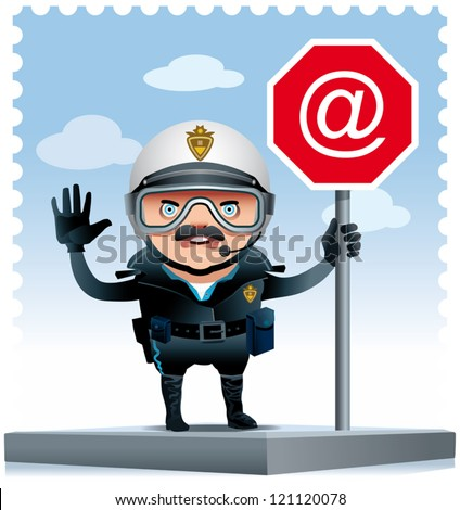 Illustration of a Motorized policeman on a street corner leaning on an Internet signal. - stock vector
