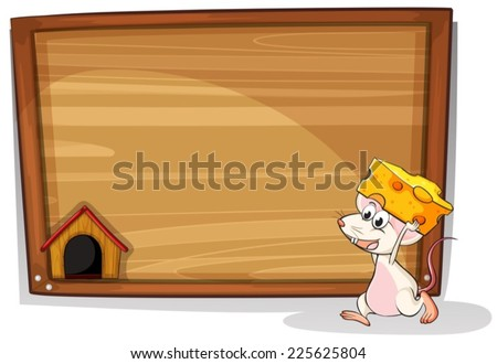 Illustration of a mouse carrying cheese - stock vector