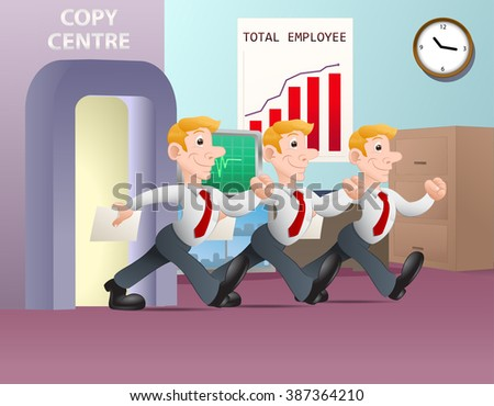 illustration of a multiplying businessman hold white blank paper in copy center background - stock vector