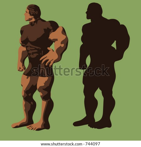 Illustration of a muscular man and his silhouette