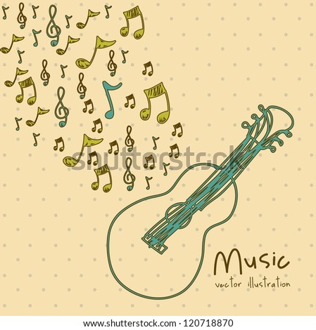Illustration of a music icon, with microphone, cassette, piano, guitar, musical notes, vector illustration - stock vector