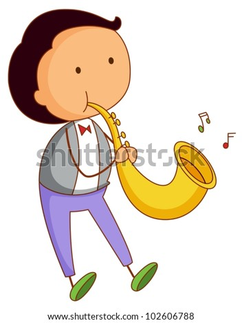 Illustration of a musical boy - stock vector