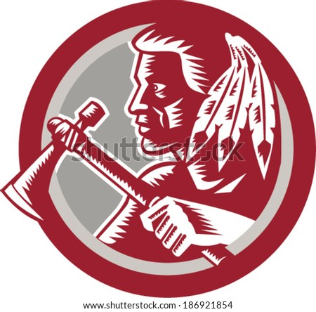 Illustration of a native american indian chief warrior holding a tomahawk viewed from side set inside circle done in retro woodcut style on isolated white background. - stock vector