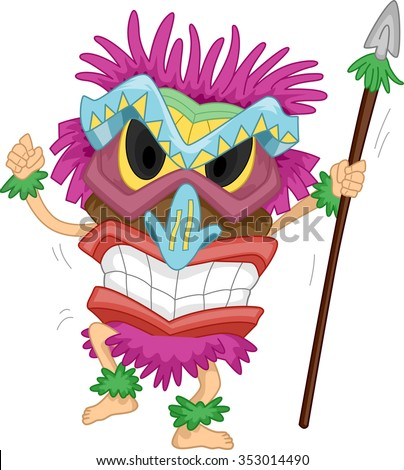 Illustration of a Native Man Carrying a Spear Wearing a Tiki Costume - stock vector